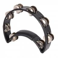 RTT2B ORIGINAL TAMBOURINE - NICKEL STEEL JINGLES - BLACK